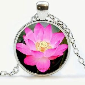 Lotus Blossom Silver and Glass Necklace